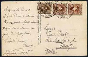 Egypt 1931 PPC to Italy bearing Fuad adhesives cancelled by Lloyd Triestino MN VICTORIA dated 4.11.1931, scarce Commercial Maritime Mail item