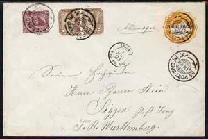 Egypt 1893 5m on 10pa p/stat env with additional adhesives to Wurtemberg, Germany cancelled by Port Said date stamp of 26.VII.93 in black with LIGNE 7 PAQ FR No.6 alongsi...