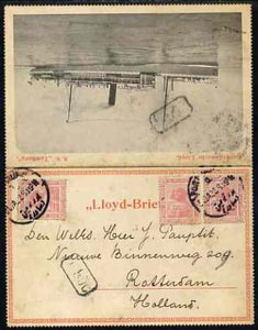 Egypt 1922 Rotterdamsche Lloyd SS TAMBORA letter card to Netherlands bearing 3 x 5m tied Port Taufik date stamp of 31.JA.22 (Maritime Mail)