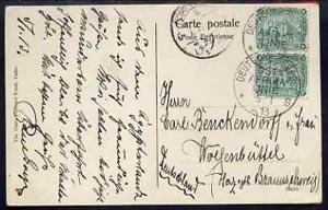 Egypt 1913 PPC (Heliopolis Cairo) bearing 2 x 2m Sphinx tied by Deutsche Seepost Ostafrika Linie dated 5.1.13 with Port Said cancel alongside (Maritime Mail)