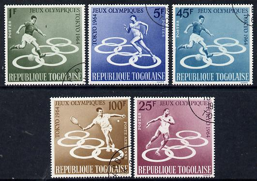 Togo 1964 Tokyo Olympic Games perf set of 5 fine cds used, SG 386-90*, stamps on olympics, stamps on sport, stamps on football, stamps on running, stamps on discus, stamps on tennis