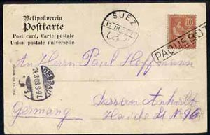 France 1903 Norddeutscher Lloyd, Bremen PPC to Germany bearing 10c Mouchon tied Straight line PAQUEBOT with Suez dated stamp of 17.III.03 & Dessau mark alongside (Maritim...