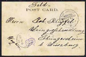 Egypt 1901 unstamped PPC (Suez Railway Station) to Germany with KAIS DEUTSCHE MARINESCHIFFSPOST NO. 71 (German Navy) cancel dated 9/9.01, Thungersheim receiving mark alon...
