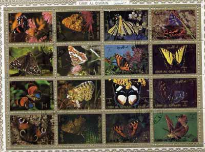 Umm Al Qiwain 1972 Butterflies sheetlet containing 16 values cto used (Mi 1498-1513A)