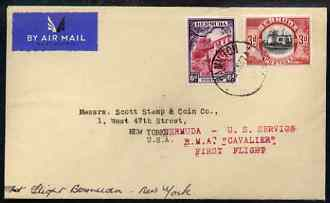 Bermuda 1937 First Flight Cover to New York with RMA Cavalier handstamp in red