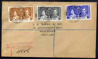 British Guiana 1937 KG6 Coronation set of 3 on reg cover with first day cancel addressed to the forger, J D Harris.  Harris was imprisoned for 9 months after Robson Lowe exposed him for applying forged first day cancels to Coronation covers (details supplied).