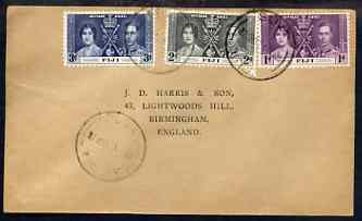 Fiji 1937 KG6 Coronation set of 3 on cover with first day cancel addressed to the forger, J D Harris.  Harris was imprisoned for 9 months after Robson Lowe exposed him for applying forged first day cancels to Coronation covers (details supplied).