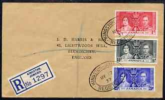 Jamaica 1937 KG6 Coronation set of 3 on reg cover with first day cancel addressed to the forger, J D Harris.  Harris was imprisoned for 9 months after Robson Lowe exposed...