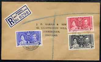 Somaliland 1937 KG6 Coronation set of 3 on reg cover with first day cancel addressed to the forger, J D Harris.  Harris was imprisoned for 9 months after Robson Lowe expo...