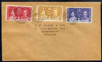 Northern Rhodesia 1937 KG6 Coronation set of 3 on cover with first day cancel addressed to the forger, J D Harris.  Harris was imprisoned for 9 months after Robson Lowe e...