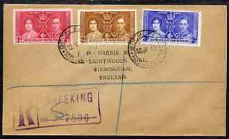 Bechuanaland 1937 KG6 Coronation set of 3 on reg cover with first day cancel addressed to the forger, J D Harris.  Harris was imprisoned for 9 months after Robson Lowe ex...