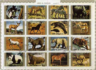 Umm Al Qiwain 1972 Animals #4 sheetlet containing 16 values cto used (Mi 1370-85A)