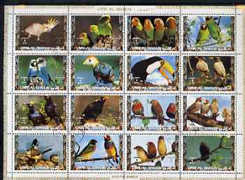 Umm Al Qiwain 1972 Exotic Birds #2 sheetlet containing 16 values cto used (Mi 1402-17A)
