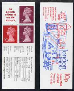 Booklet - Great Britain 1979-80 London 1980 10p booklet complete including 'background repair' on 8p, R2/1, SG spec UMFB11g