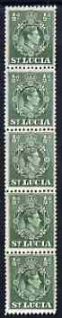 St Lucia 1938-48 KG6 1/2d green perf 12.5 coil strip of 5 with coil join, one stamp folded over for display, superb unmounted mint. as SG 128a