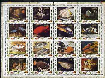 Umm Al Qiwain 1972 Fish #1 sheetlet containing 16 values cto used (Mi 1306-21)