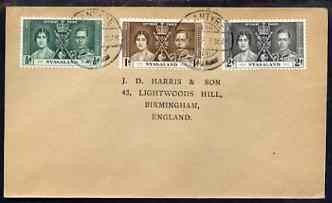 Nyasaland 1937 KG6 Coronation set of 3 on cover with first day cancel addressed to the forger, J D Harris.  Harris was imprisoned for 9 months after Robson Lowe exposed h...