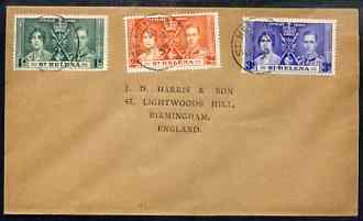 St Helena 1937 KG6 Coronation set of 3 on cover with first day cancel addressed to the forger, J D Harris.  Harris was imprisoned for 9 months after Robson Lowe exposed him for applying forged first day cancels to Coronation covers (details supplied).  Covers purporting to originate from St Helena are among those identified as forged and are cited in the text.