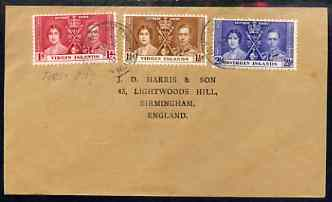 British Virgin Islands 1937 KG6 Coronation set of 3 on cover with first day cancel addressed to the forger, J D Harris.  Harris was imprisoned for 9 months after Robson L...