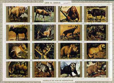 Umm Al Qiwain 1972 Animals #3 sheetlet containing 16 values (Endangered Species) cto used Mi 1530-45