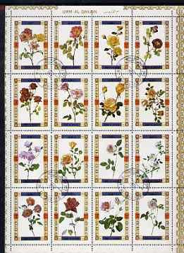 Umm Al Qiwain 1972 Roses sheetlet containing 16 values cto used (Mi 1434-49A)