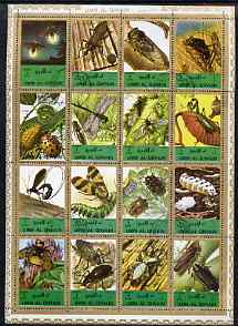 Umm Al Qiwain 1972 Insects sheetlet containing 16 values cto used (Mi 1338-53A)