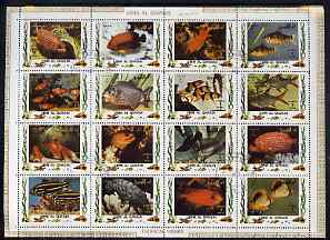 Umm Al Qiwain 1972 Fish #2 sheetlet containing 16 values cto used (Mi 1466-81A)