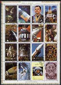 Umm Al Qiwain 1972 History of Space #1 sheetlet containing 16 values cto used (Mi 1066-81A)