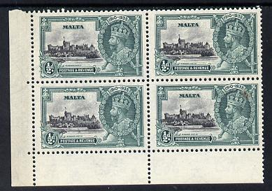 Malta 1935 KG5 Silver Jubilee 1/2d unmounted mint corner block of 4, one stamp with 'extra flagstaff' variety officially but incompletely erased (see note after SG 213)