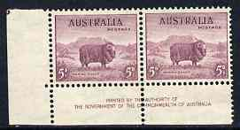 Australia 1937-49 KG6 Marino Sheep 5d corner pair with Govt imprint lightly mounted as SG189