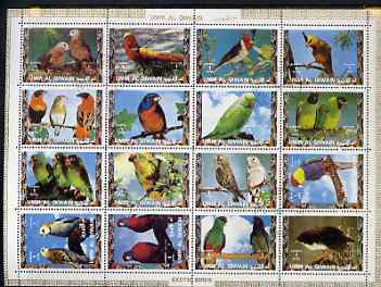 Umm Al Qiwain 1972 Exotic Birds #1 sheetlet containing 16 values cto used (Mi 1242-57A)