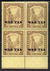 Bahamas 1918 Staircase War Tax 3d marginal block of 4 unmounted mint SG98