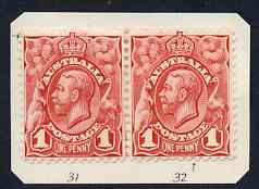 Australia 1913-14 KG5 Head 1d red horiz pair stated to be positions 31 & 32 mounted mint, SG17