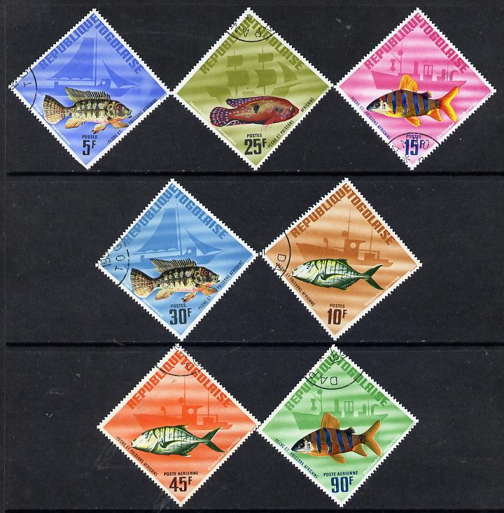 Togo 1967 Fish diamond shaped set of 7 cto used, SG 493-99*