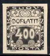 Czechoslovakia 1919 Postage Due 400h imperf proof in black on ungummed paper, as SG D34