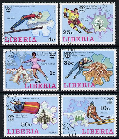 Liberia 1976 Innsbruck Winter Olympics set of 6 cto used, SG 1260-65