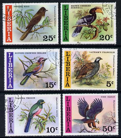 Liberia 1977 Wild Birds set of 6 cto used, SG 1307-12*