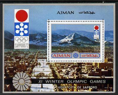 Ajman 1971 Sapporo Winter Olympics m/sheet 10r value unmounted mint (Mi BL 255A)