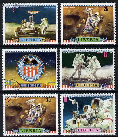 Liberia 1972 Moon Mission of Apollo 16 set of 6 cto used, SG 1115-20*