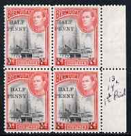 Bermuda 1940 Surcharged 1/2d on 1d block of 4, 2 stamps with 14mm spacing, 2 with 12.5mm spacing mounted mint SG122