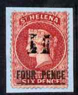 St Helena 1864-73 QV Crown CC P12.5 4d carmine (thin bar) used with