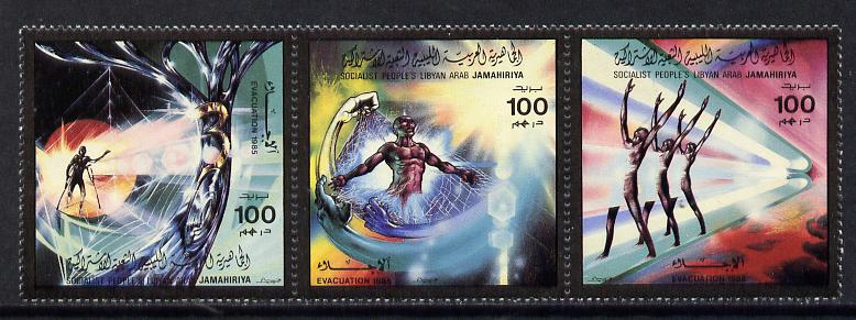 Libya 1985 Evacuation of Forces se-tenant strip of 3 unmounted mint, SG 1780-82