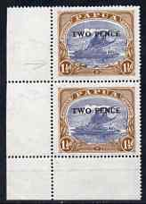 Papua 1931 Surcharged 2d on 1.5d corner pair with retouch to circle around value, stamps unmounted mint SG122var
