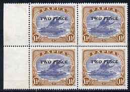 Papua 1931 Surcharged 2d on 1.5d marginal block of 4, stamps unmounted mint SG122