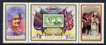 Lesotho 1980 Queen Mother's 80th Birthday se-tenant strip of 3 unmounted mint, SG 423a