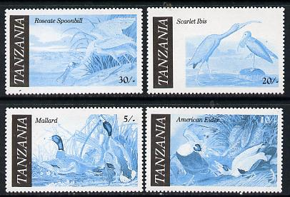 Tanzania 1986 John Audubon Birds set of 4 perforated proofs in blue & black only (asSG 464-7) unmounted mint