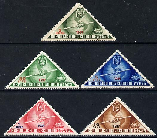 Ecuador 1939 the unissued triangular Columbus set of 5 values opt