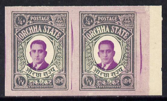 Indian States - Orcha 1935 Maharaja 1/4a imperf pair (unrecorded by SG) with photocopy of the complete sheet of 42 from which it came showing authenticating State seal on...