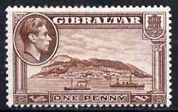 Gibraltar 1938-51 KG6 1d P13 deep brown (wmk s/ways) mounted mint SG122c