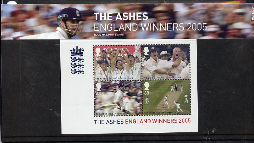 Great Britain 2005 Cricket - England Winners of the Ashes perf m/sheet in official presentation pack unmounted mint SG MS 2573